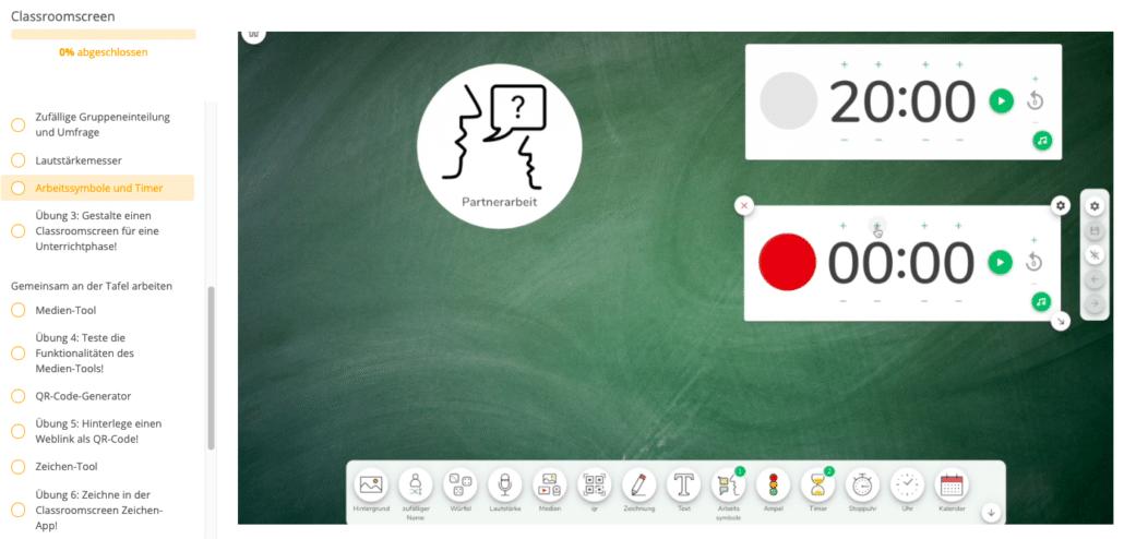 Screenshot aus dem Tool Classroomscreen, zu sehen sind zwei Timer