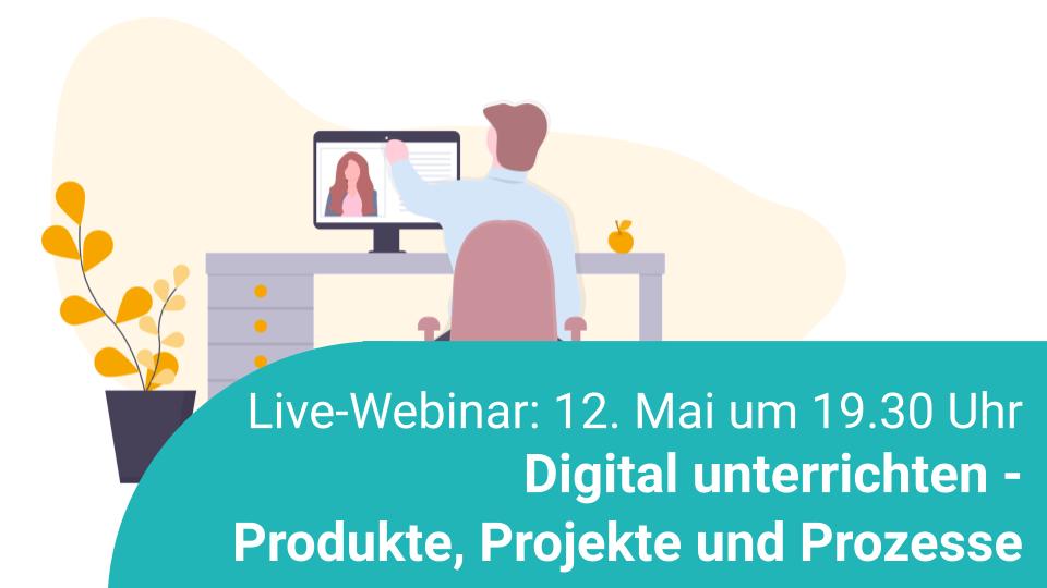 Live-Webinar zum Thema digital unterrichten, Illustration
