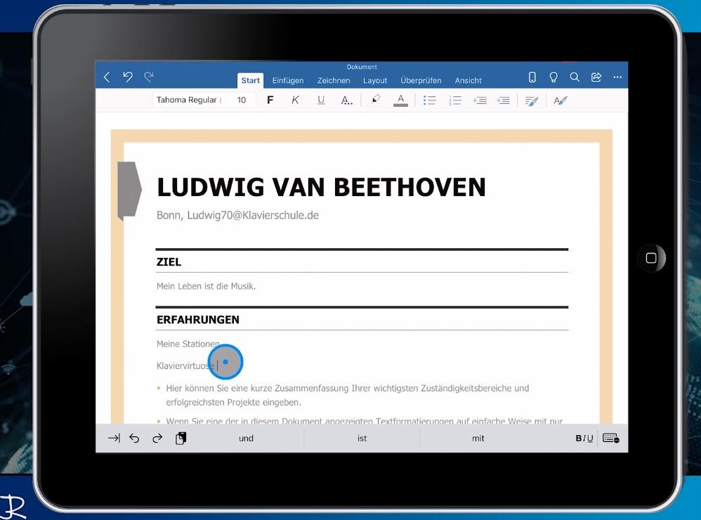 Screenshot aus der Fortbildung Word Ipad