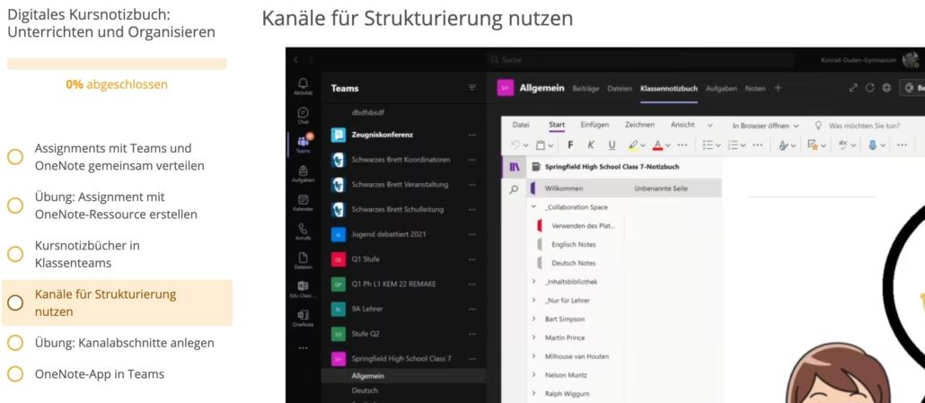 Screenshot Fortbildung Kursnotizbuch