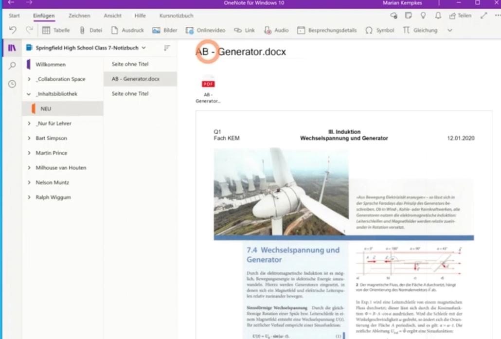 Screenshot aus der Fortbildung Kursnotizbuch