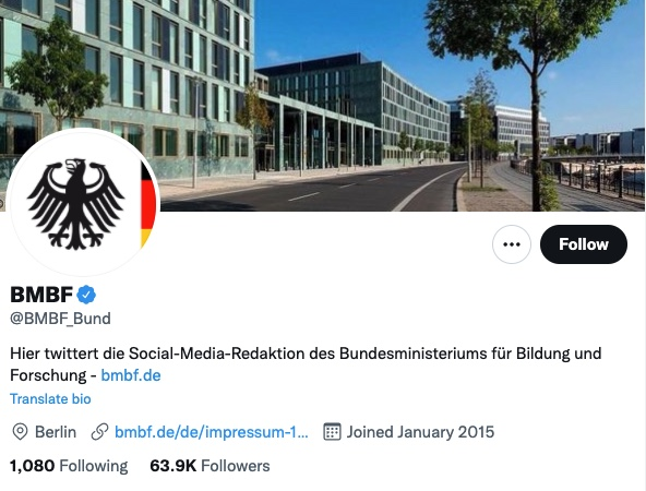 Twitteraccount Bildungsministerium